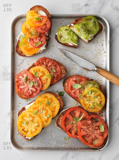 Heirloom tomatoes on toasted sourdough bread