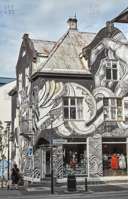 Reykjavik, Iceland - July 23, 2019: Laugavegur, one of the oldest shopping streets in downtown Reykjavik