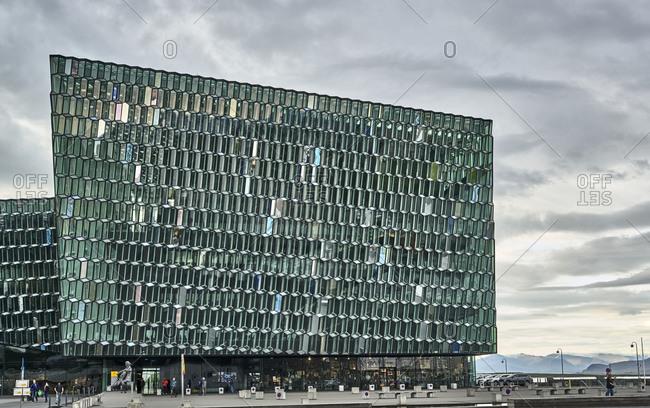 Reykjavik, Iceland - July 23, 2019: Harpa concert hall and conference centre exterior