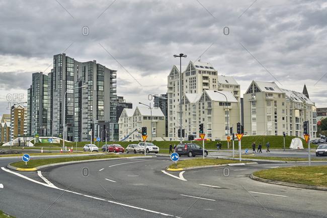 Reykjavik, Iceland - July 23, 2019: Modern apartment buildings in downtown Reykjavik