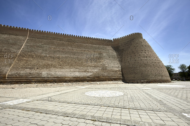 Fortress walls of the Ark of Bukhara in the city of Bukhara, Uzbekistan