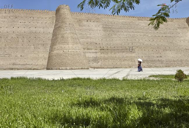Bukhara, Uzbekistan; May 19, 2016; Tourists at the Ark of Bukhara fortress