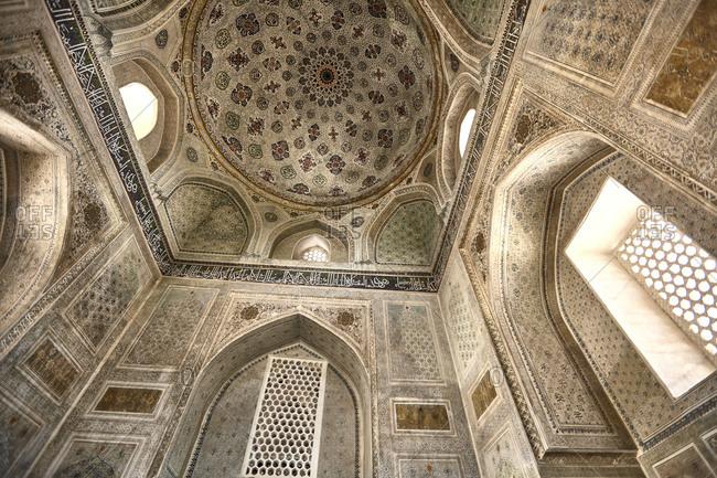 Shakhrisyabz, Uzbekistan - May 20, 2016: Low angle view of the inside of the Historic Centre of Shakhrisyabz in southern Uzbekistan