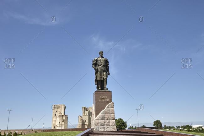 Shakhrisyabz, Uzbekistan - May 20, 2016: Statue in front of Timur's Summer Palace