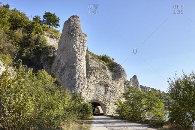 Road leading through The Wonderful Rocks in the Balkan Mountains, Bulgaria