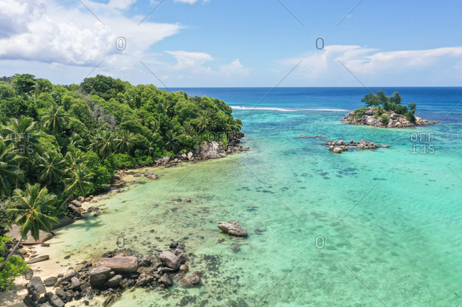 Aerial view of Fairyland on the east coast of , Seychelles