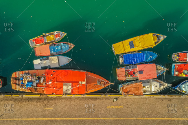 Aerial view of several fishing boats, Seychelles.