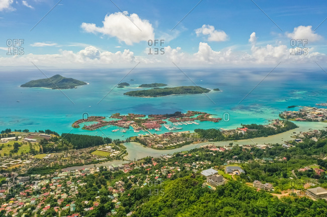 Aerial view of Eden Island and the st. Anne Marine National Park, Seychelles