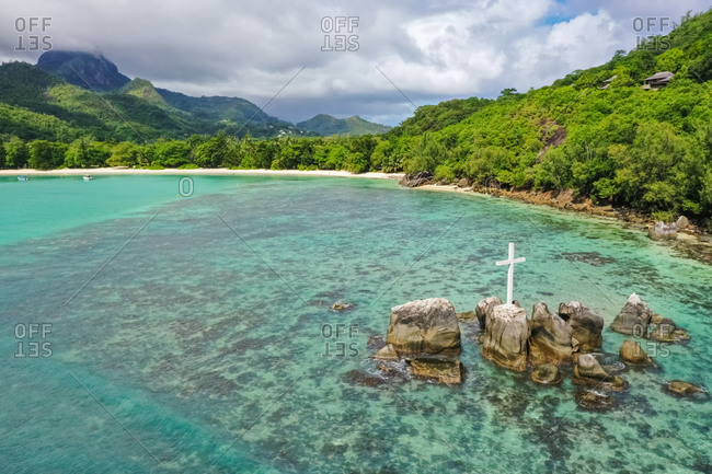 Aerial view of a cross within the Port Launay Marine National Park, Seychelles