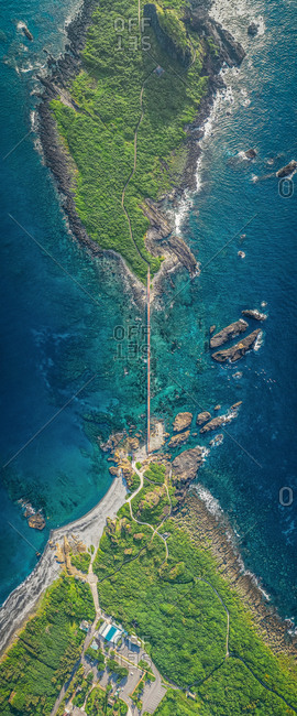 Aerial view of bridge connect two parts of island in Sansiantai in Taiwan