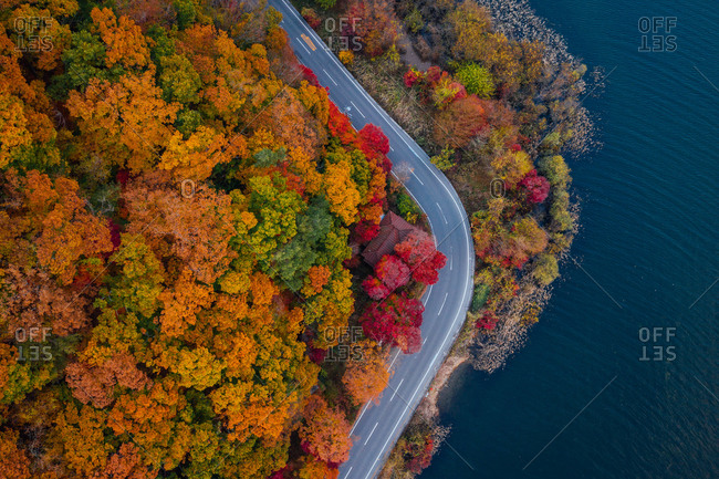 Aerial view of  curves road by the lake in autumn, Taiwan