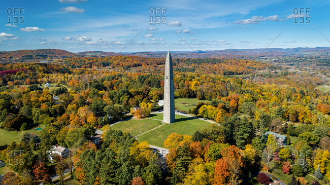 August 1, 2020: Aerial View of Bennington Monument in Vermont in beautiful day, USA.