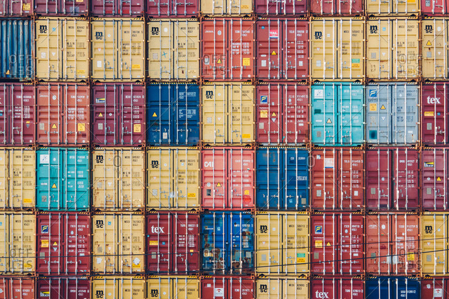 August 1, 2020: TAIWAN 2 July 2020: Aerial view of multicolored shipping containers from the side.