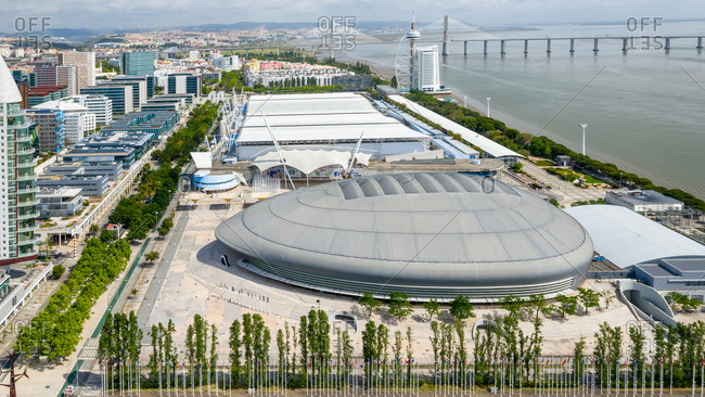 Lisbon, Portugal - May 6, 2020: Aerial view of the new area of Lisbon city. Oceanario, Vasco da Gama towers and Altice Arena.