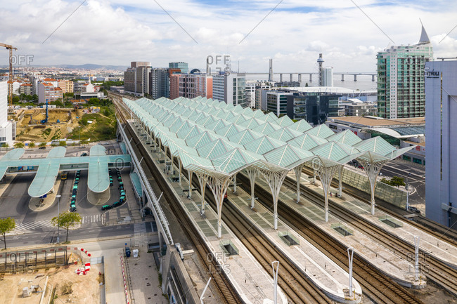 Lisbon, Portugal - May 6, 2020: Aerial view of  Oriente train station, in Expo, Lisbon City, Portugal.
