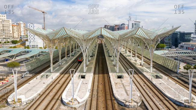 Lisbon, Portugal - May 6, 2020: Aerial view of Oriente train station, in Expo