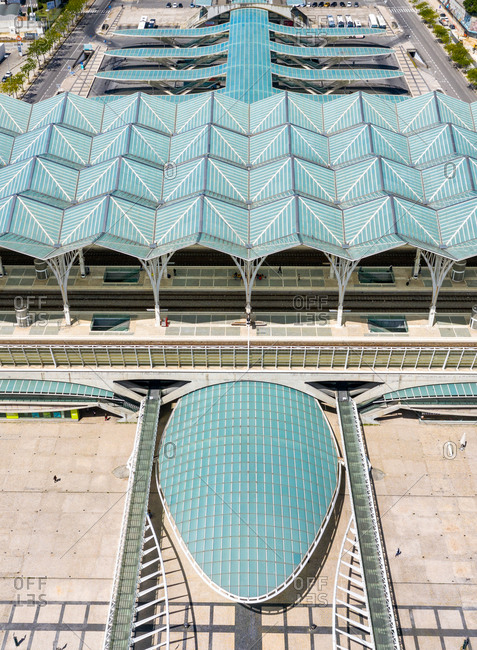 May 6, 2020: Aerial view of  Oriente train station, in Expo, Lisbon City, Portugal.