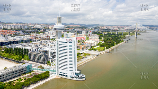 Lisbon, Portugal - May 6, 2020: Aerial view of the new area of Lisbon city and Myriad Hotel.