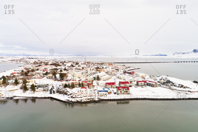 Aerial view of the city of Borgarnes in winter with snow, western Iceland