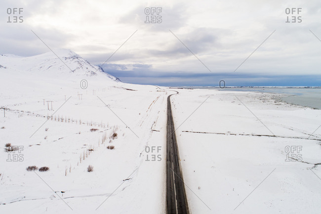 Aerial view of a road in snow-covered land, Borgarfjordur, western Iceland