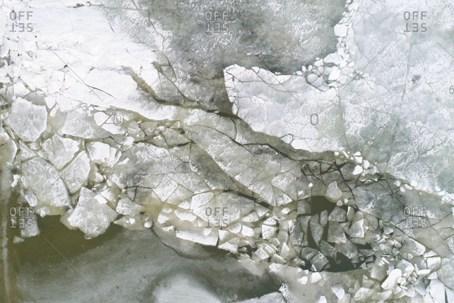 Aerial view of ice on the frozen lake Markermeer after a long period of frost in winter, Noord-Holland, Netherlands