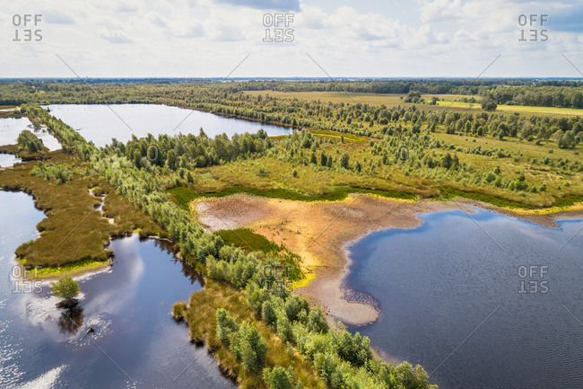 Aerial view of partly dried out lakes and forest, Engbertsdijksvenen, Twente, Overijssel, Netherlands