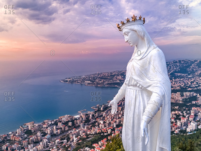 Aerial view of Lady of Lebanon during sunset, Harissa , Lebanon.