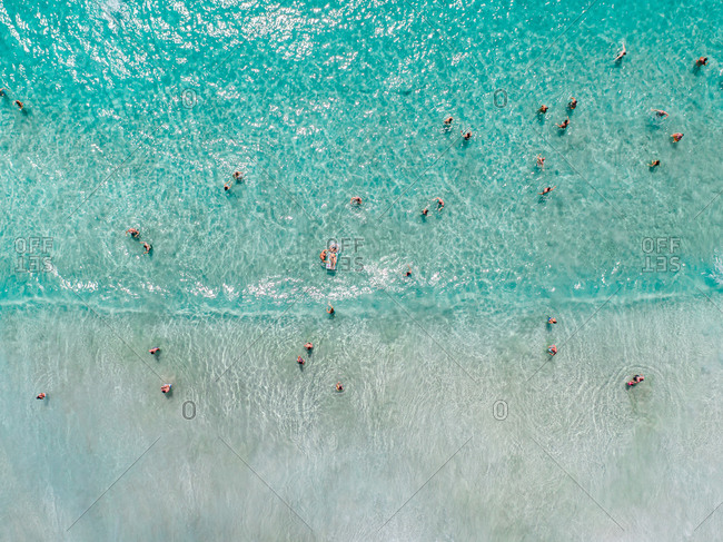 Aerial view people on beach of Tyre sea, south Lebanon.