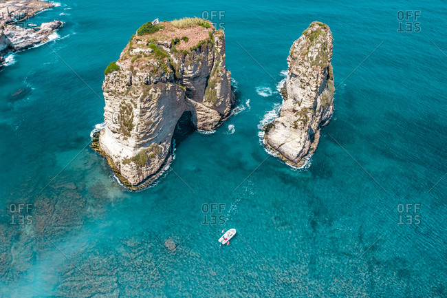 Aerial view of Raouche Rocks, Beirut, Lebanon.