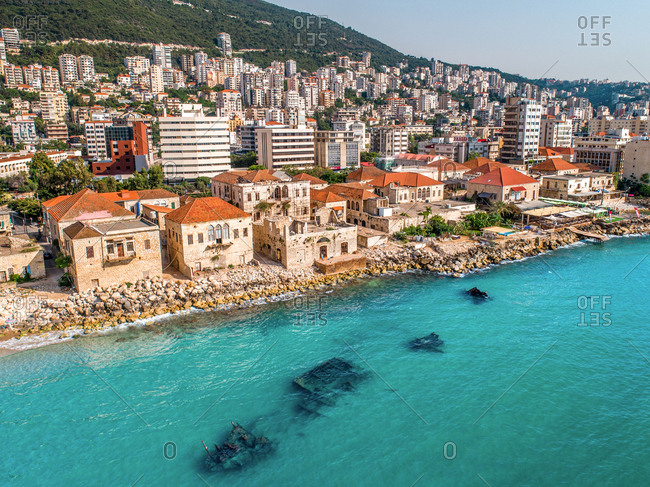June 8, 2018: Aerial view of shipwreck at coast of Jounieh, Lebanon.