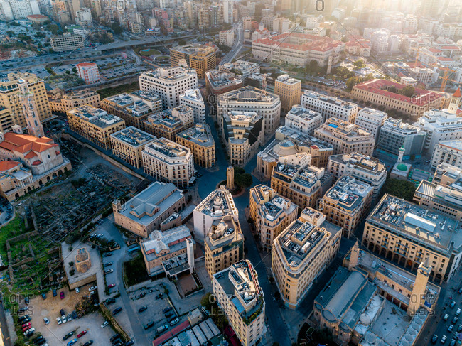 Aerial view of Beirut downtown, Lebanon.