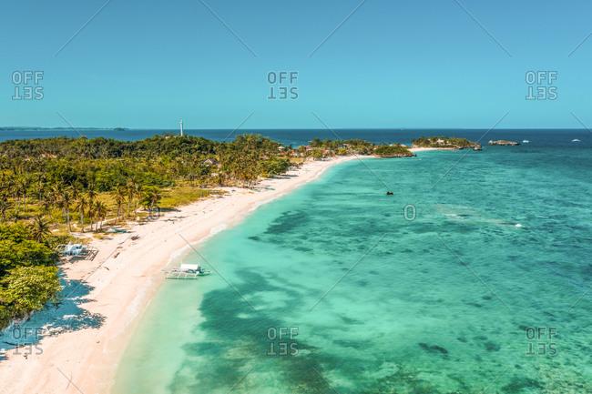 Aerial view of white sand Langob Beach in Malapascua Island, Province of Cebu, Philippines