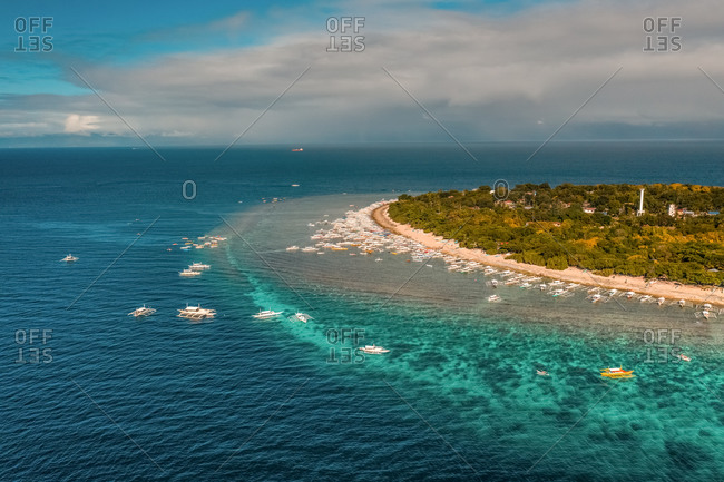 An aerial view of Balicasag Island in Panglao, Bohol. Famous for diving, snorkeling, and dolphin watching.