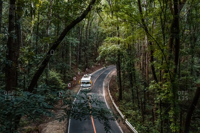 January 24, 2020: BOHOL, THE PHILIPPINES24 JANUARY 2020: Aerial view of transport van in Bilar manmade Forest.