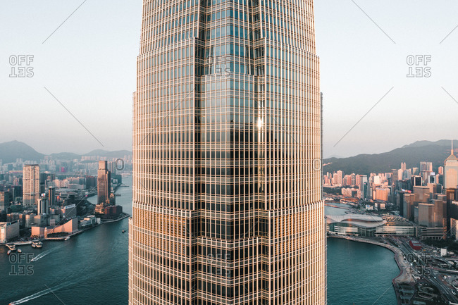 April 16, 2020: Aerial View of the IFC Tower in Hong Kong separating the Island and the New Territories, China