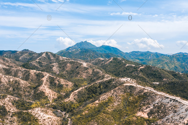 Aerial View of the Mountain Landscape in Por Lo Shan, Hong Kong, New Territories, China