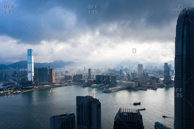 Aerial View of the IFC building in foreground and International Commerce Centre (ICC) in background,  Hong Kong, China.