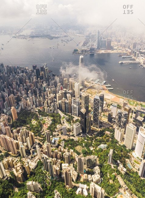 May 16, 2020: Aerial View of Hong Kong Island through the clouds in Central, China.