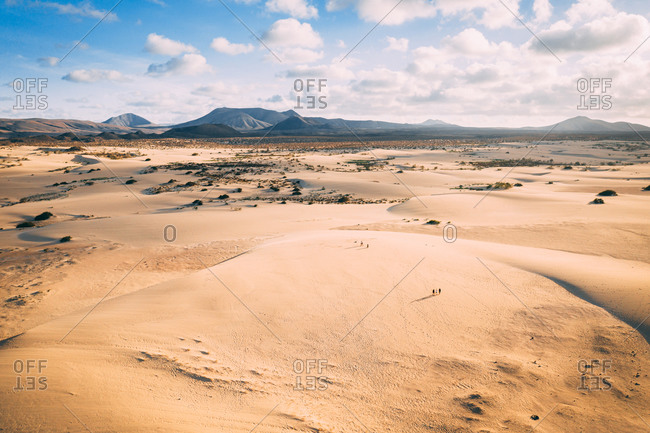 Aerial view of Corralejo Sand Dunes landscape during sunset in Fuerteventura, Canary islands.