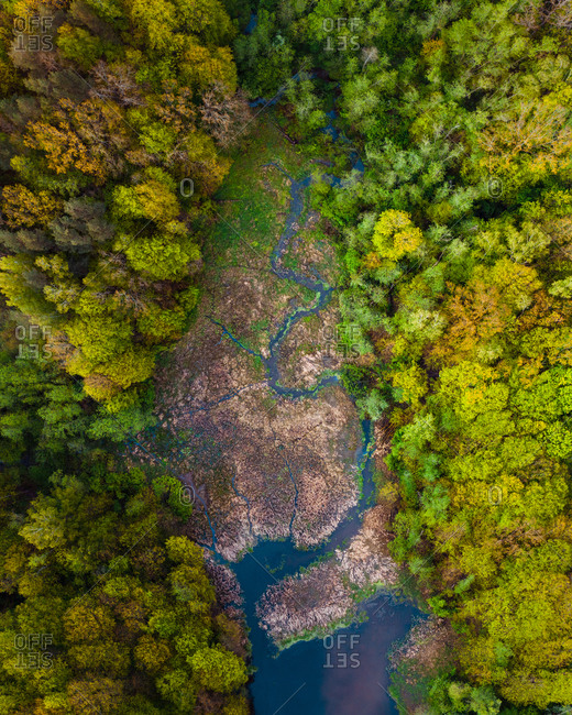 Aerial view of Kruna river and swamp near Kaunas, Lithuania in Spring time.