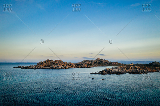 Aerial view of rocky island at Lavezzu Island, Corsica, France.