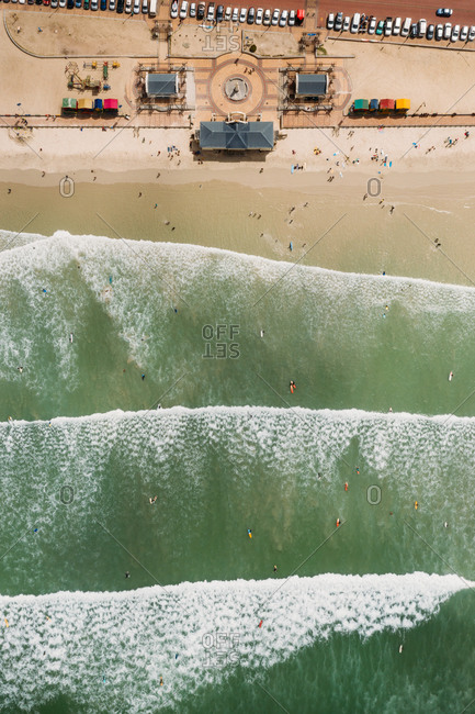 Aerial view of Muizenberg, Cape Town, Western Cape, South Africa.