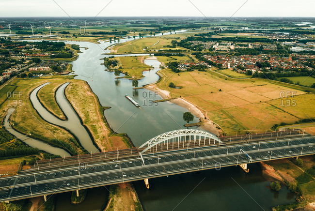 Aerial view of a vessel going under the bridge on De Lek in Utrecht, The Netherlands.