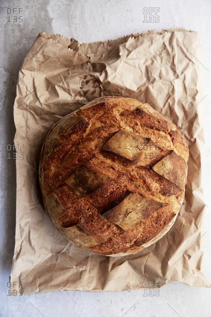 Freshly baked sourdough bread from above