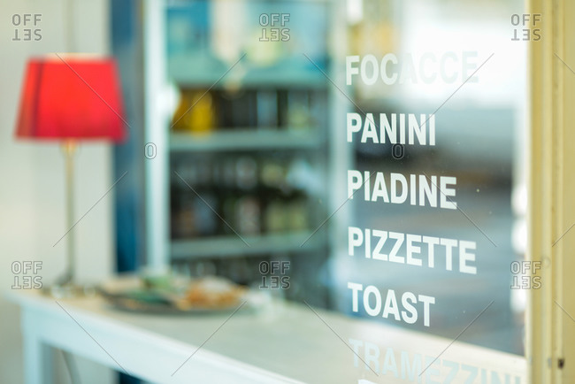 italian bar sign text panini piadina pizza toast tramezzini