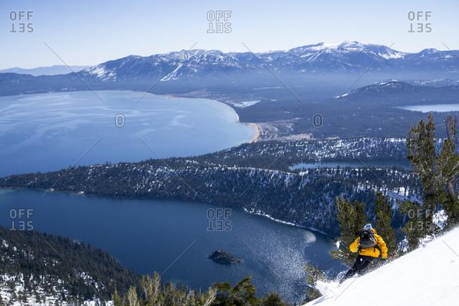 Man skiing backcountry at Washington Pass