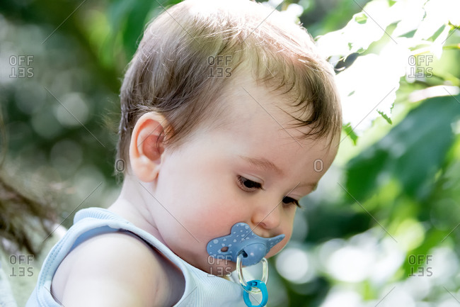 Selective focus on a photo of a six-month-old baby with a pacifier in his mouth.