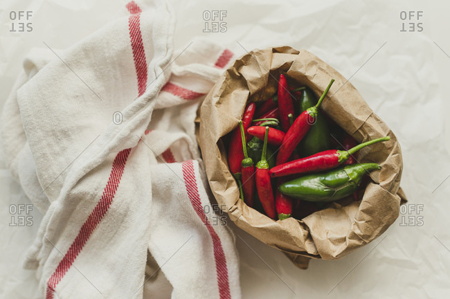 Chili Peppers and Jalapenos in a Paper Bag
