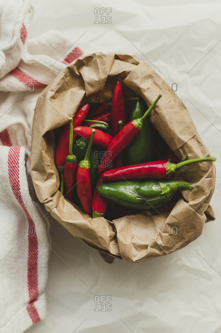 Jalapenos and Chili Peppers in Brown Paper Sack