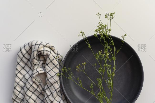 Cilantro Sprig on a black bowl with black and white napkin